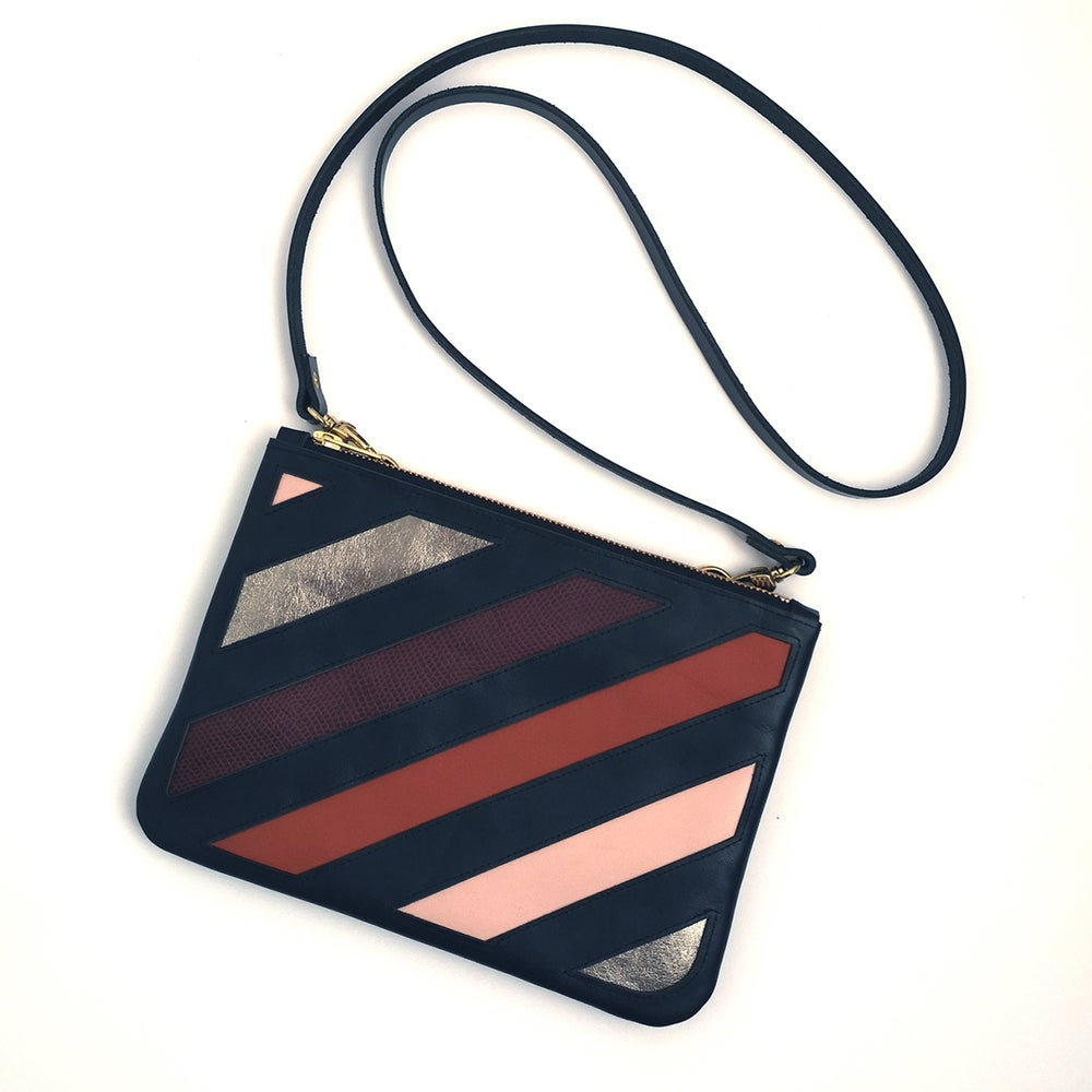 Image of STRATA striped leather clutch/crossbody bag