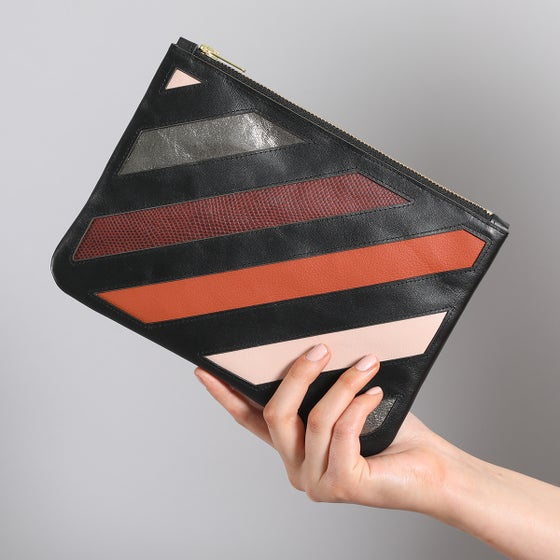 Image of DO NOT CROSS applique leather clutch/crossbody bag