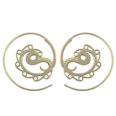 Image of Yin Yang Brass Tribal Hoop Earrings