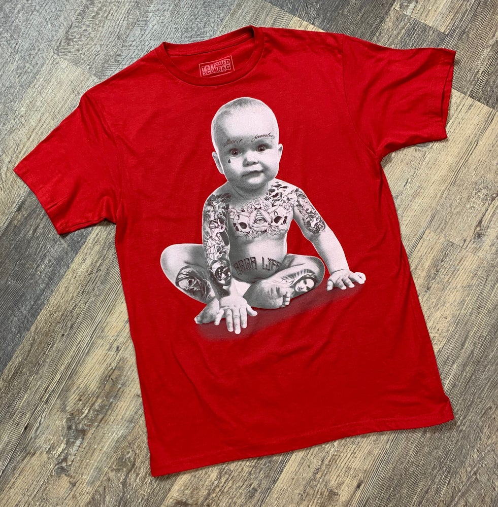 Image of Tattooed Scumbag Baby Red