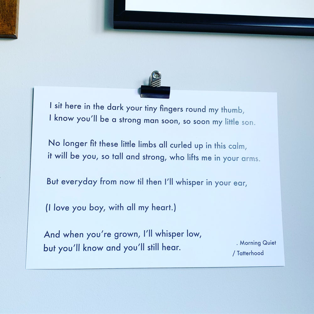 Image of Morning Quiet - A3 heavyweight poem print on premium 300gsm white recycled board