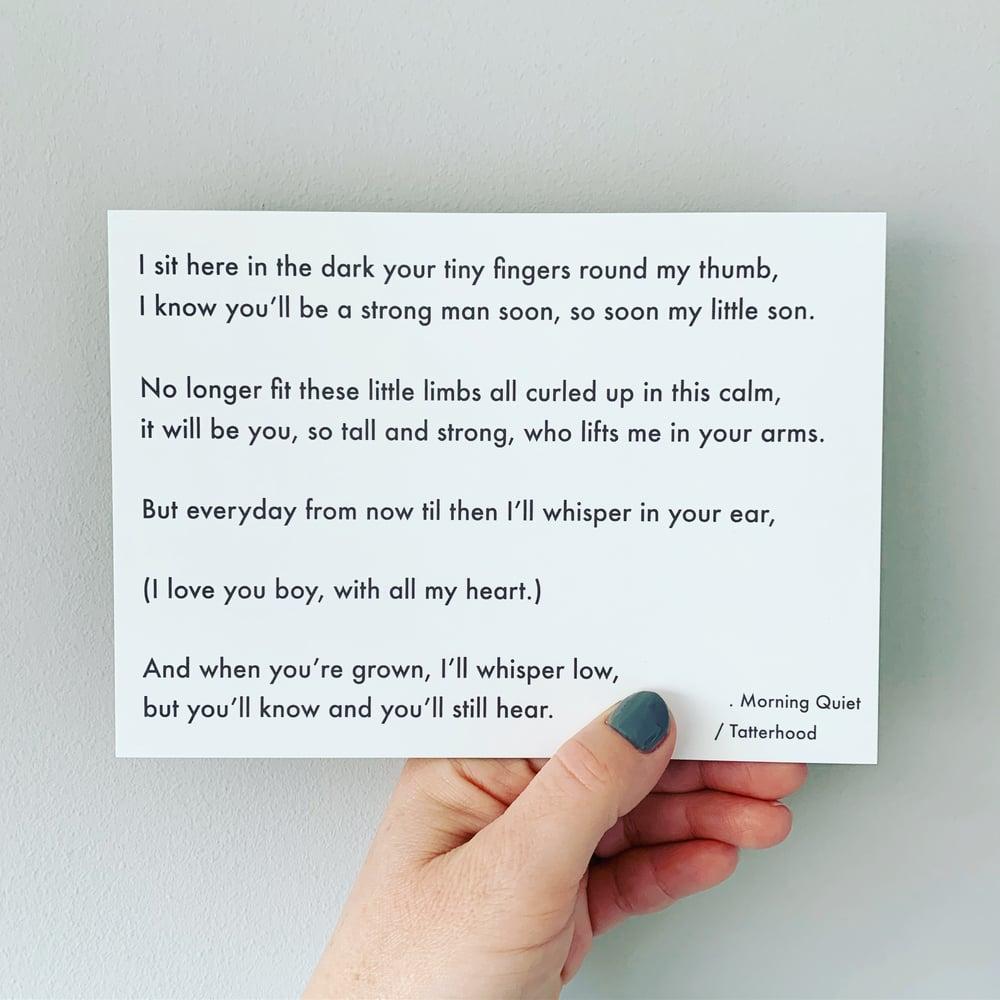 Image of Morning Quiet - Poem Postcard (Medium - 7 x 5 size)