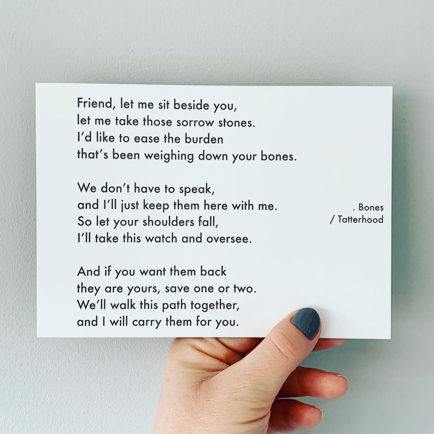 Image of Bones - Poem Postcard (Medium - 7x5 size)