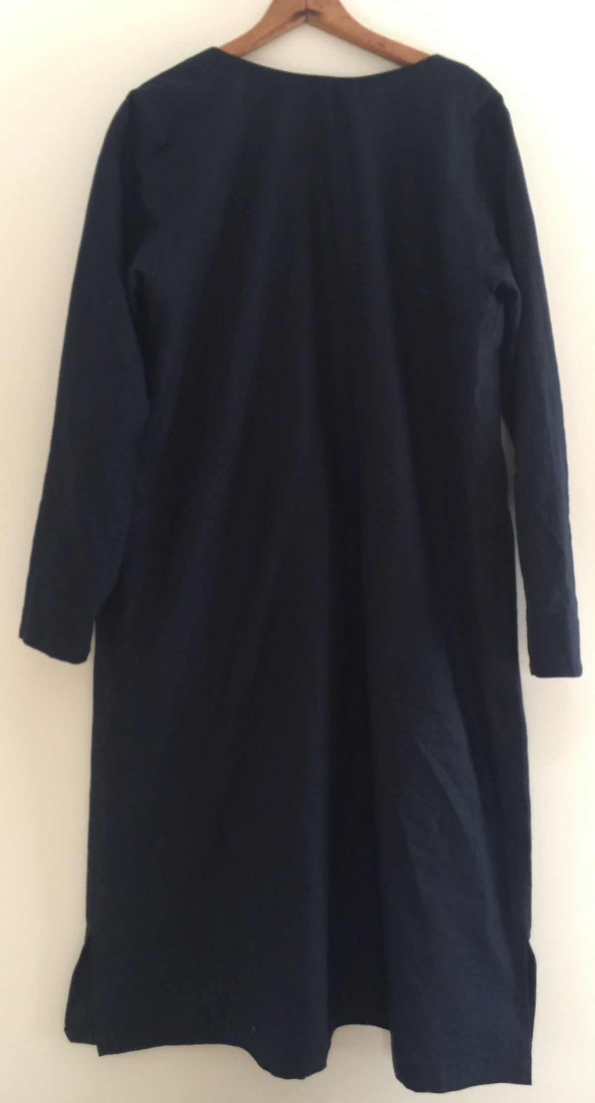 Image of placket shirt dress with flap pockets