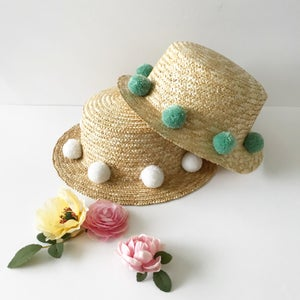 Image of Partial Pom Boater Hat