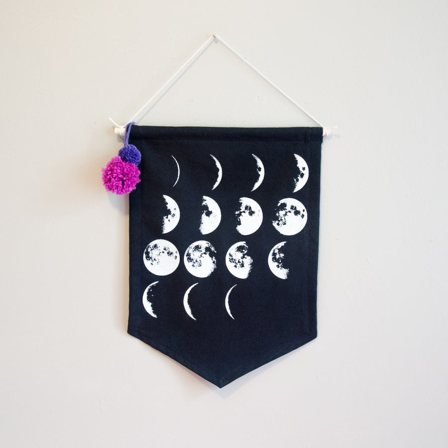 Image of Moon Phase Pennant - Black