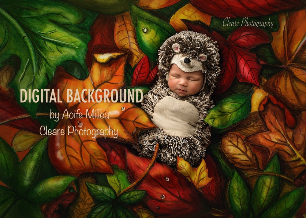 Image of drawn leaves layered newborn digital background
