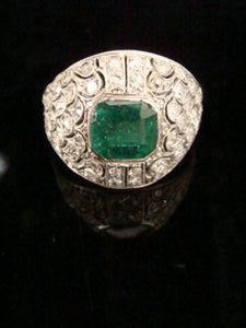 Image of Art Deco 18ct French natural emerald and diamond ring