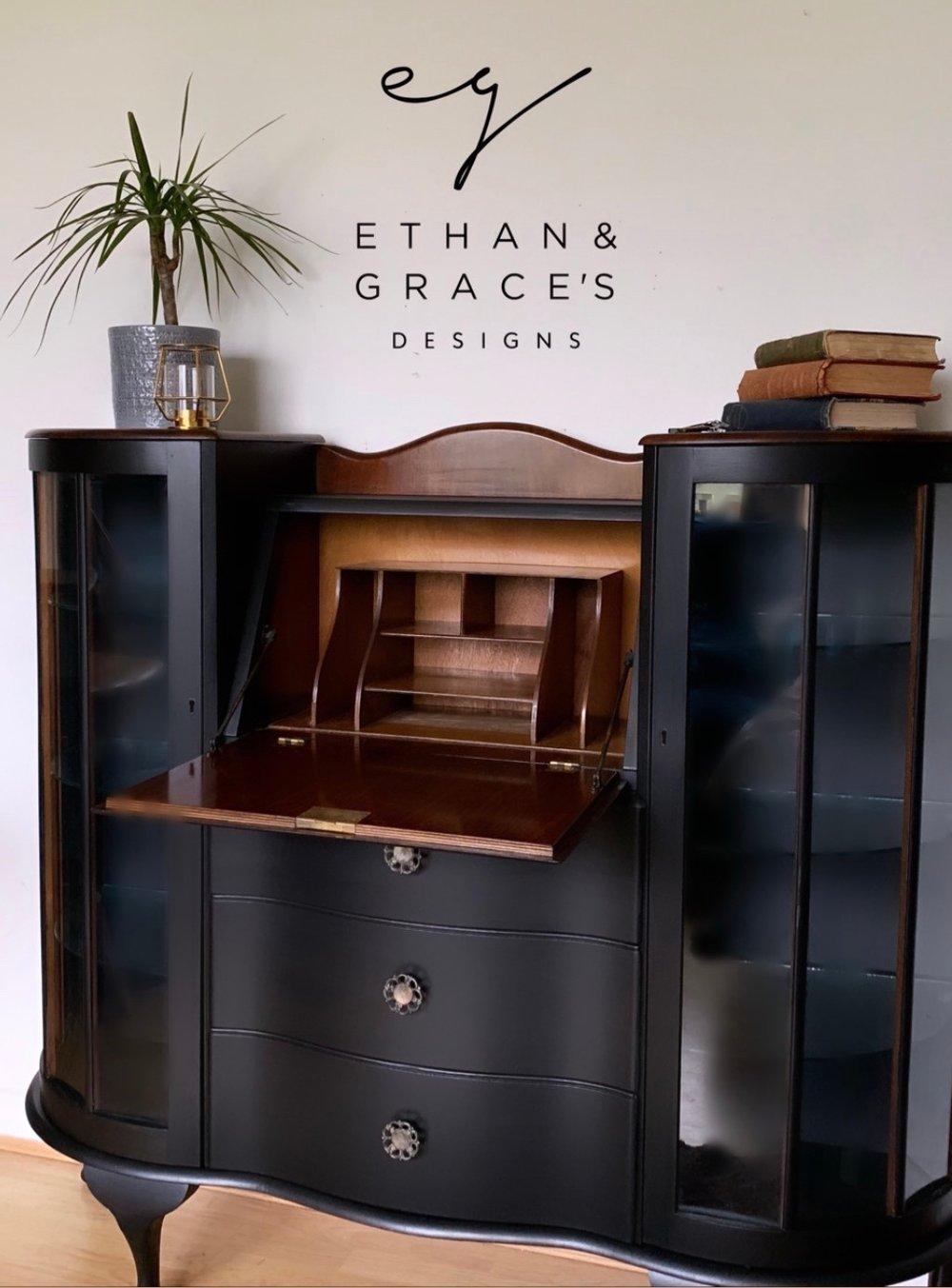 Image of Stunning black & walnut bureau/drinks cabinet