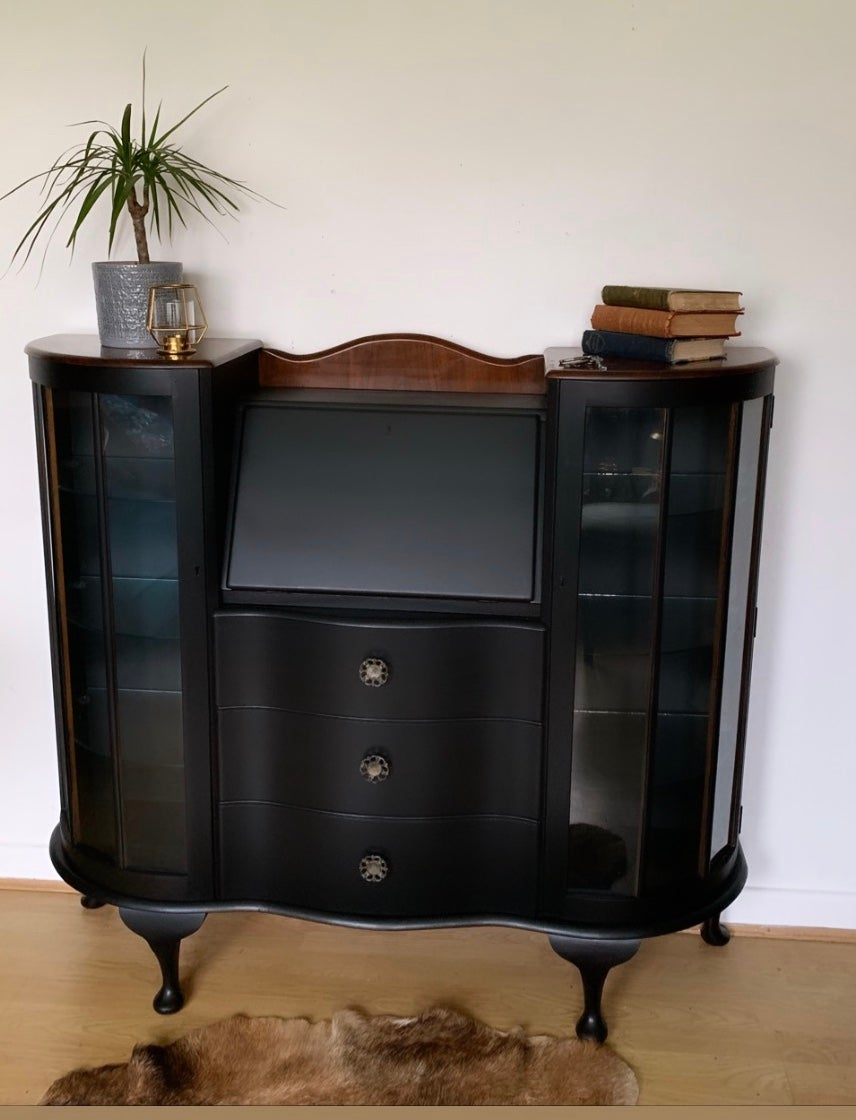 Image of Stunning black & walnut bureau/drinks cabinet