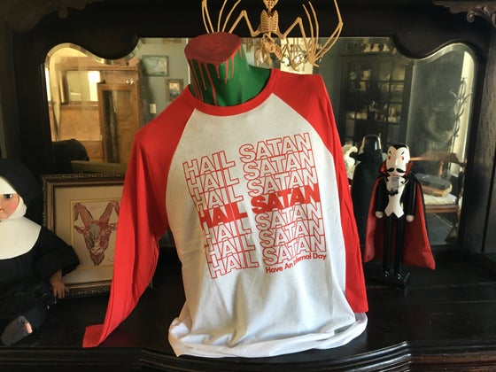 "Image of ""Hail Satan"" 3/4 Sleeve Raglan Tee - White w/ Red Sleeves"
