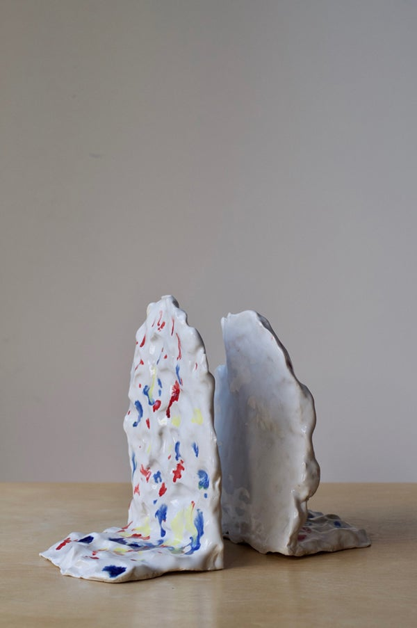 Image of Ceramic Book End - White Splatter