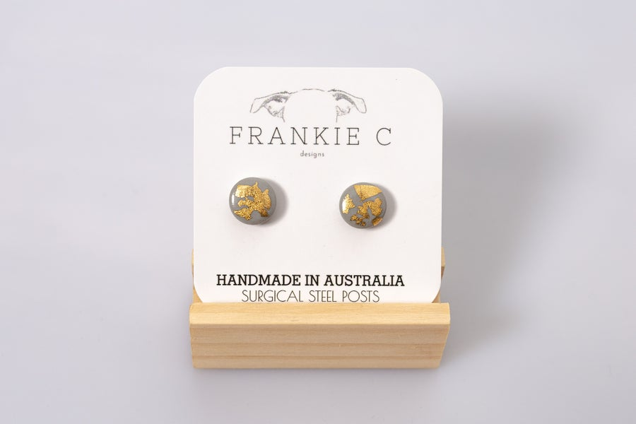 Image of Mini Studs - Gold Foiled Grey