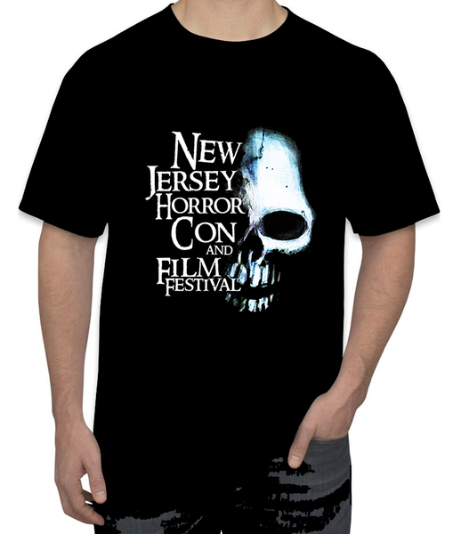 Image of PRE ORDER PICK UP FOR SHOW ON 3/29-3/31 2019 ONLY** NJ HORROR CON BLUE SKULL T-SHIRT  **NO SHIPPING