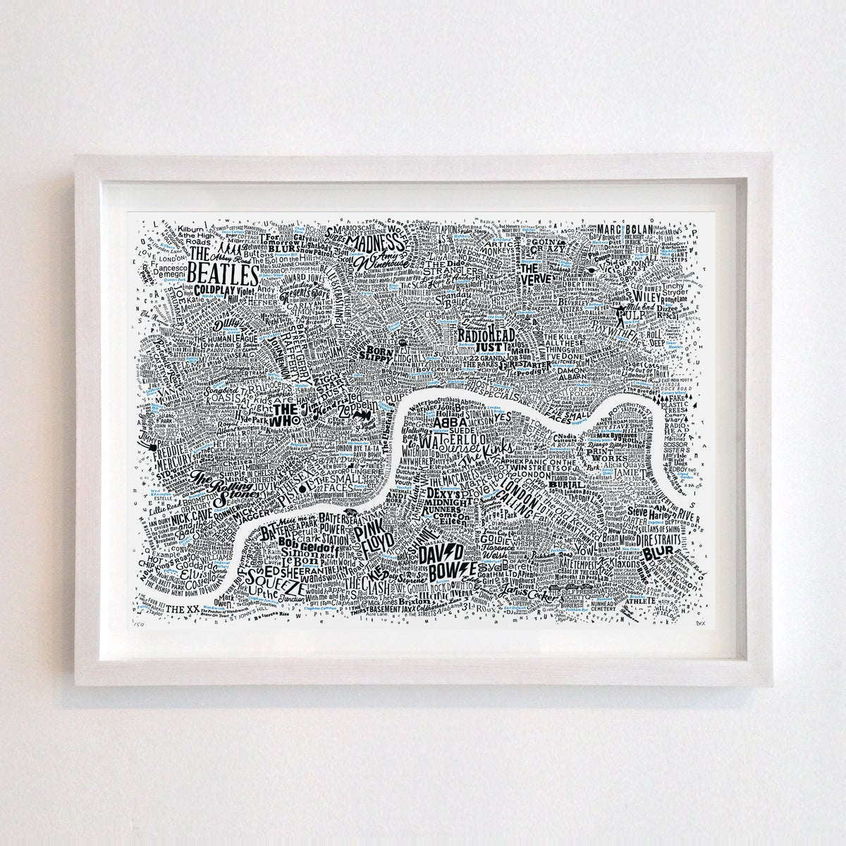 Image of Music Map Of London (Black and Blue fluoro, 2019)