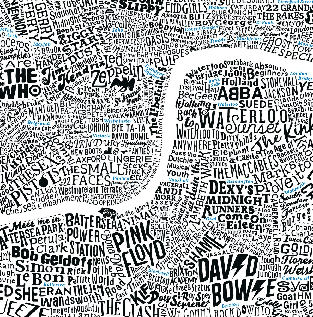 Image of Music Map Of London (Black and Blue fluoro)