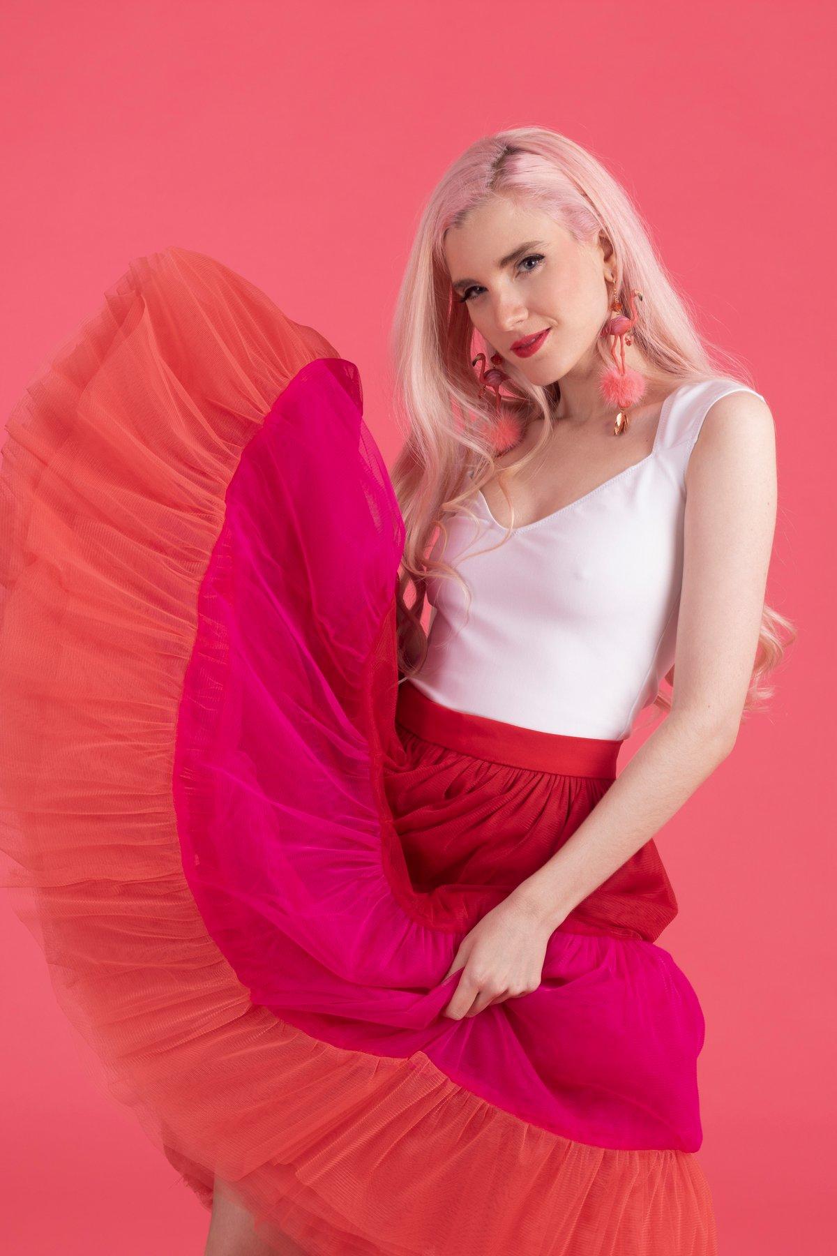 Image of Falda Princesa Tu-Tu roja, rosa y naranja