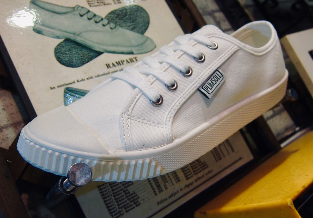 Image of Plimsoll white canvas sneaker shoes