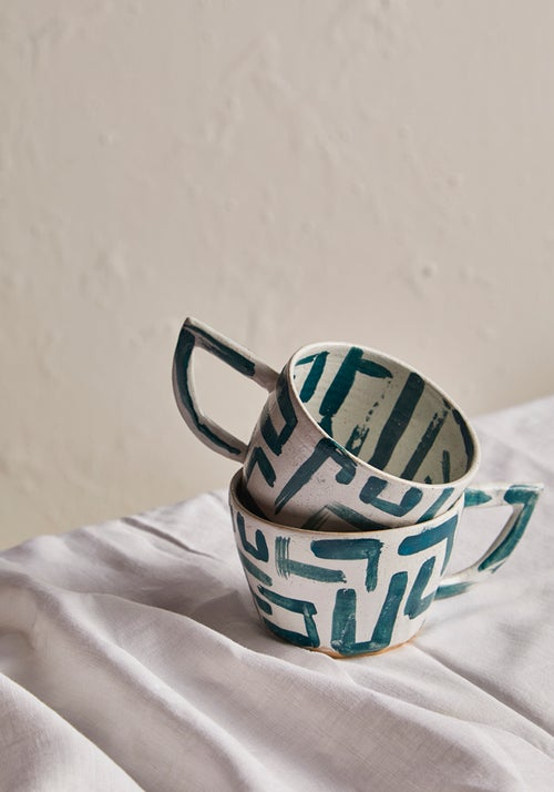 Image of L White and Green Beak Handle Mug