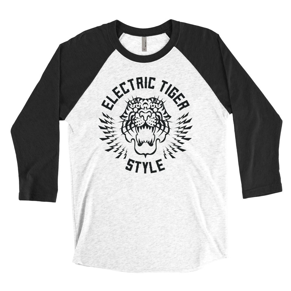 "Image of ""ELECTRIC TIGER STYLE"" Unisex Baseball Tee"