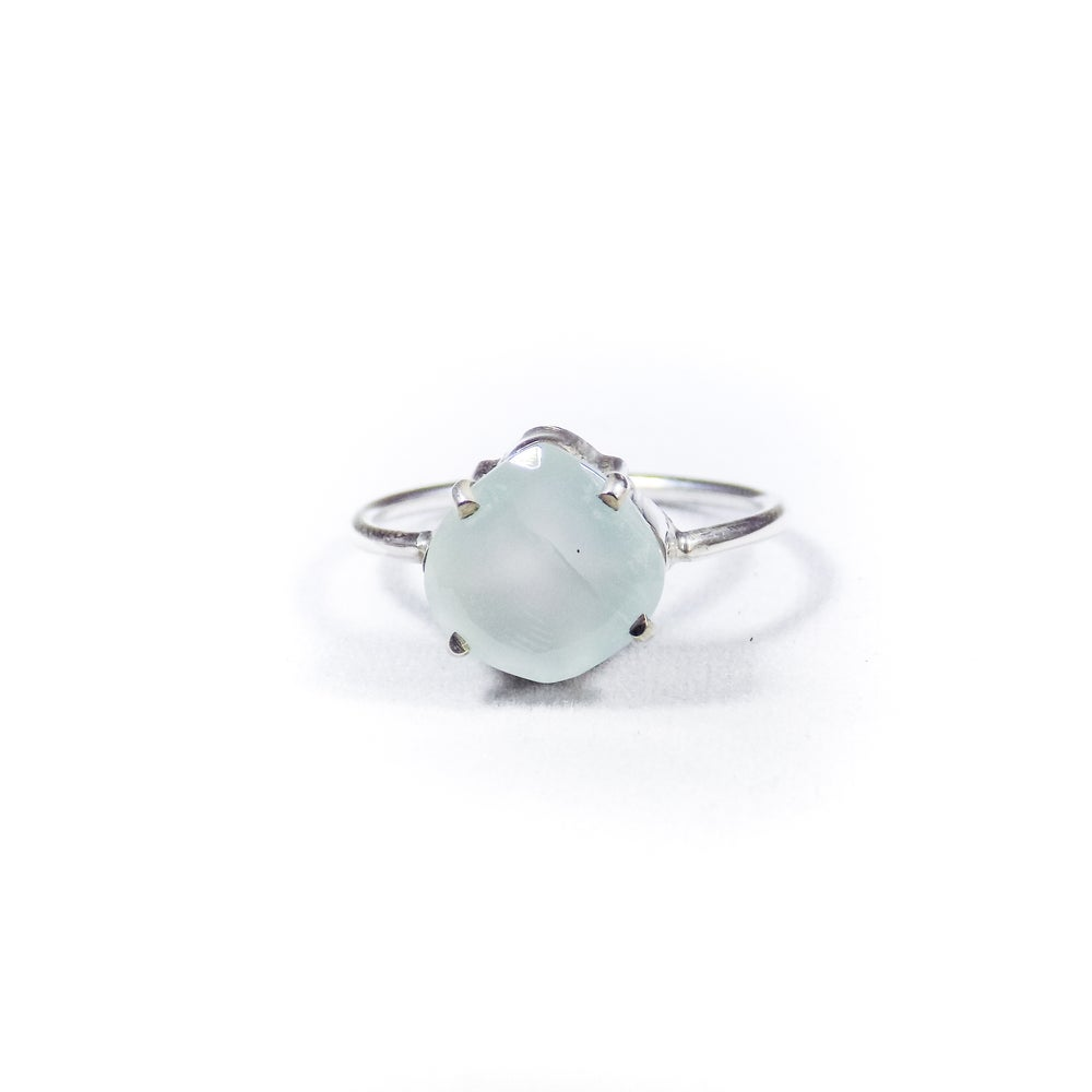 Image of Single Stone Claw Sea Blue Chalcedony Ring- silver