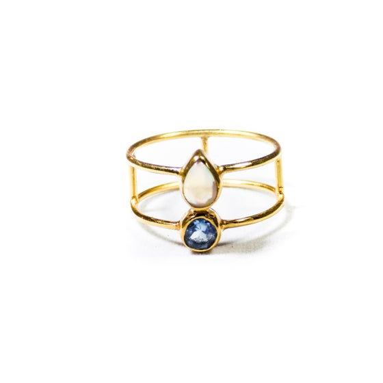 Image of Double Stone Opal/Blue Topaz Ring - gold