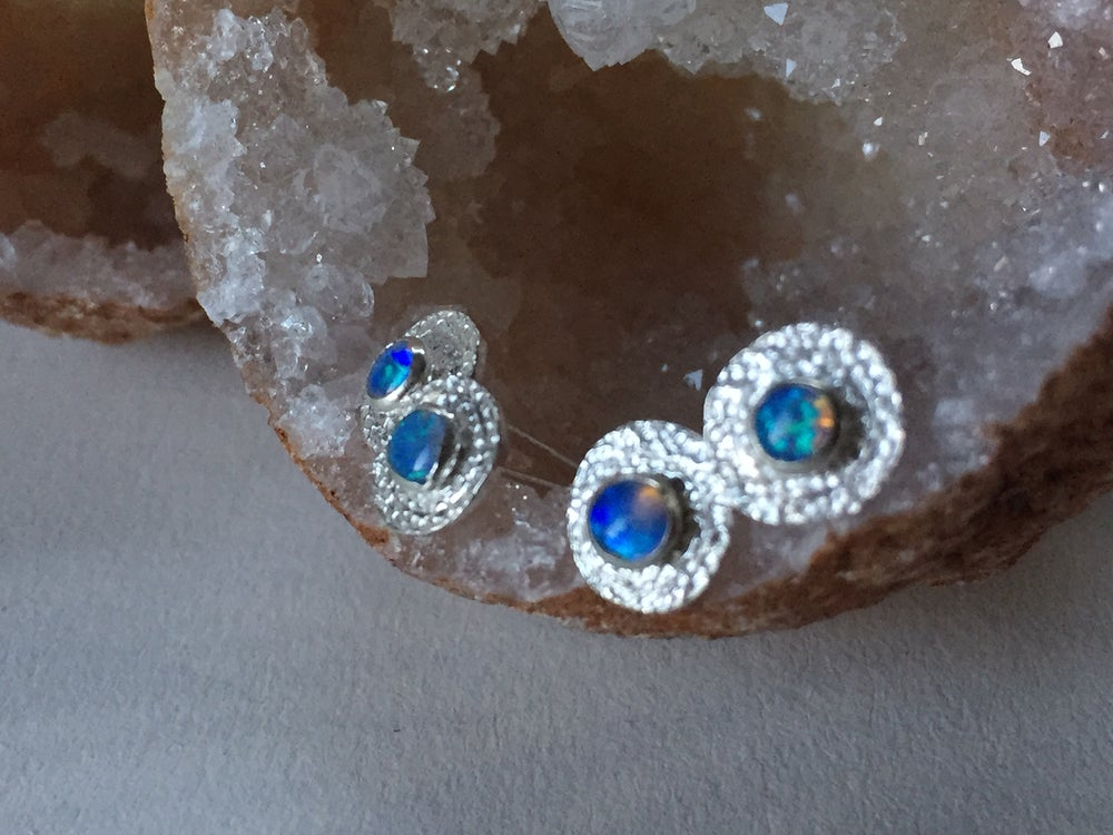 Image of Sparkle Opal Sterling Silver Stud Earrings