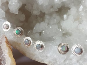 Image of Medium Sparkle Studs Sterling Silver and Opal