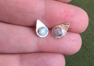 Image of Teardrop Opal Sterling Silver Stud Earrings