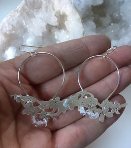 Image of Spring wildflower Herkimer Diamond Sterling Silver earrings