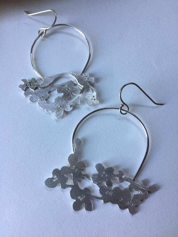 Image of Double Flower Sterling Silver Branch earrings
