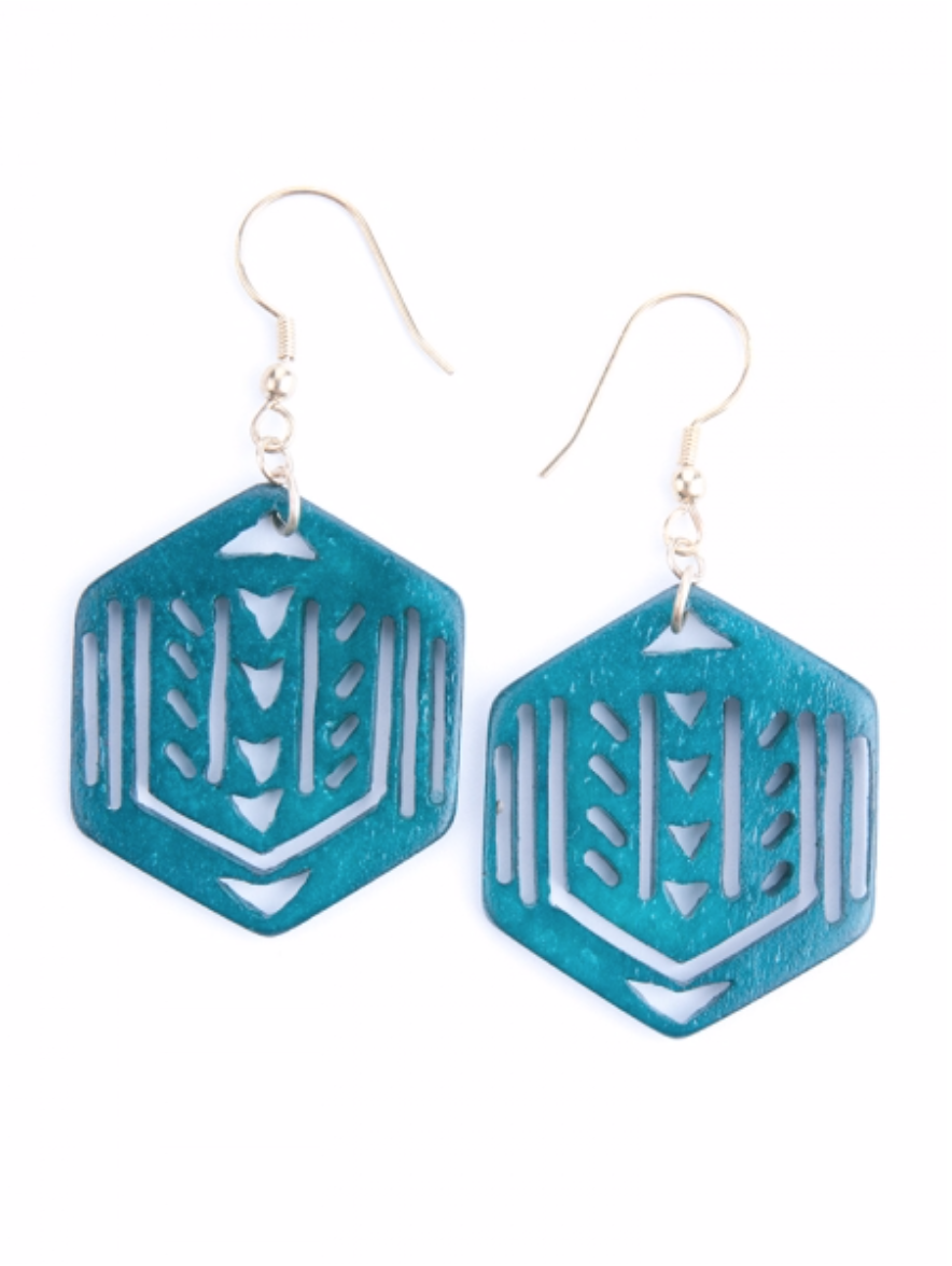 Image of Hex Cut-Out Earrings - Emerald