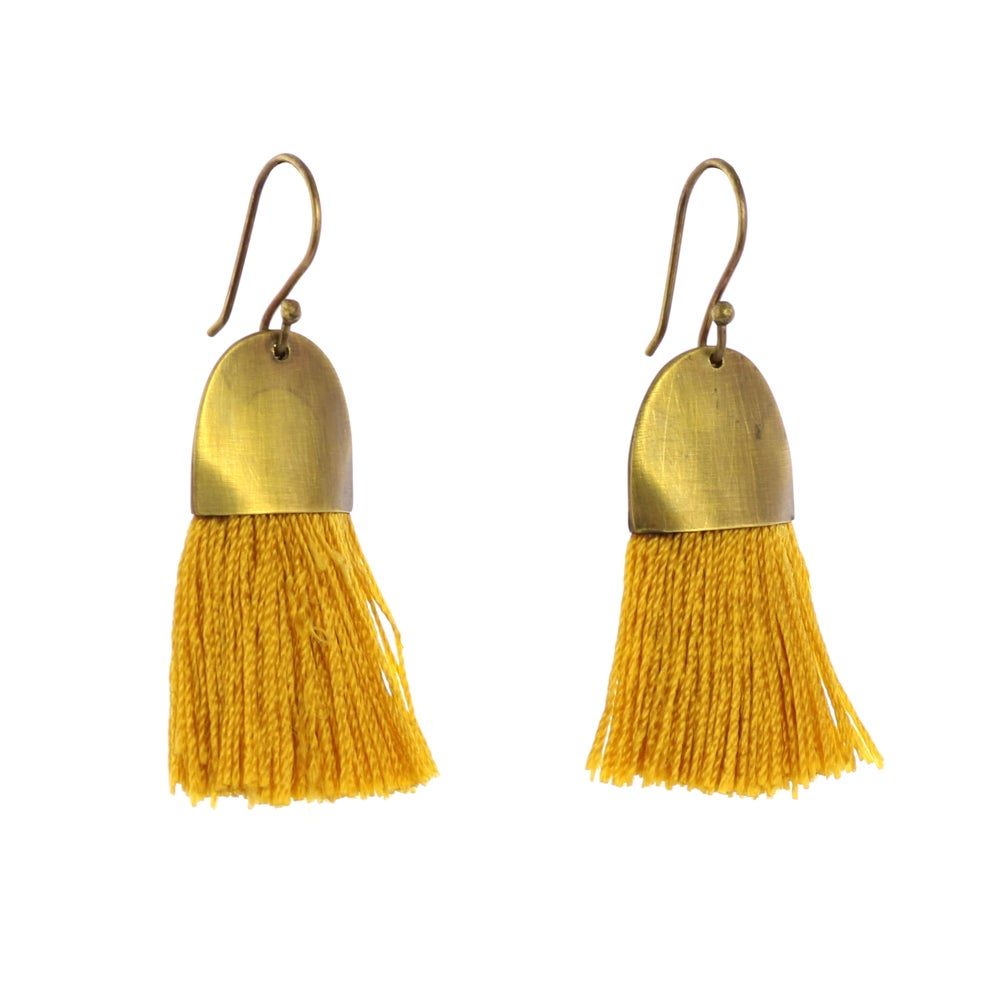 Image of Brass + Tassel Earrings - Ochre