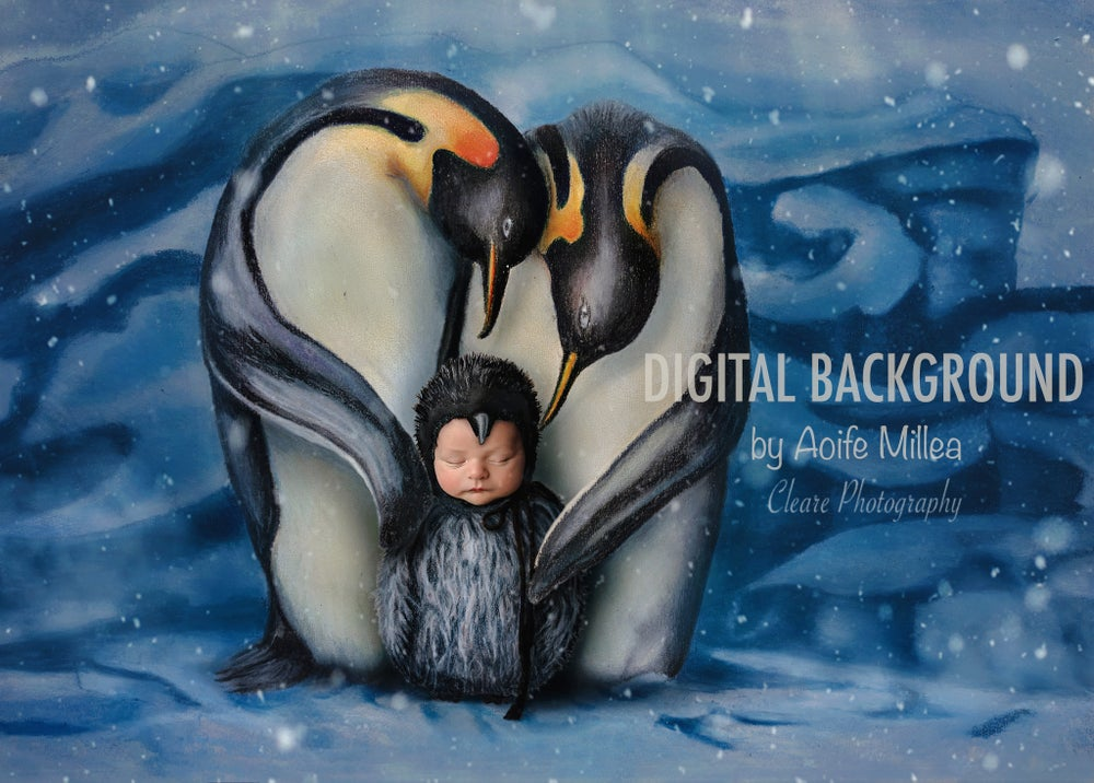 Image of penguin digital backdrop with drawn baby penguin swaddle and hat