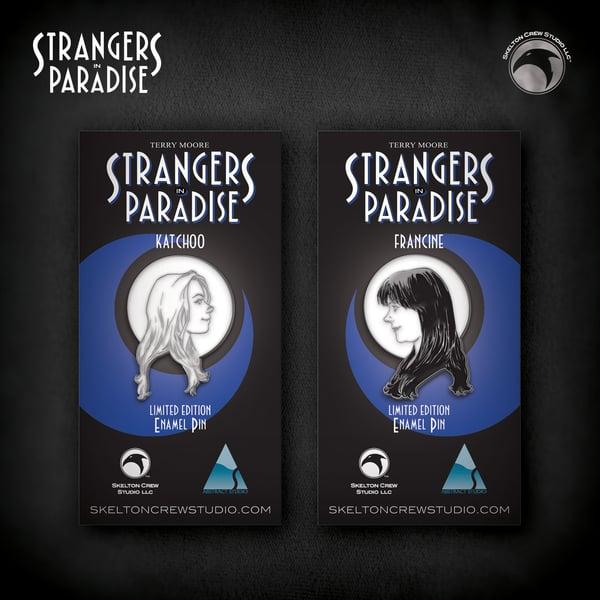 Image of Strangers in Paradise: Limited Edition Francine & Katchoo enamel pin set!