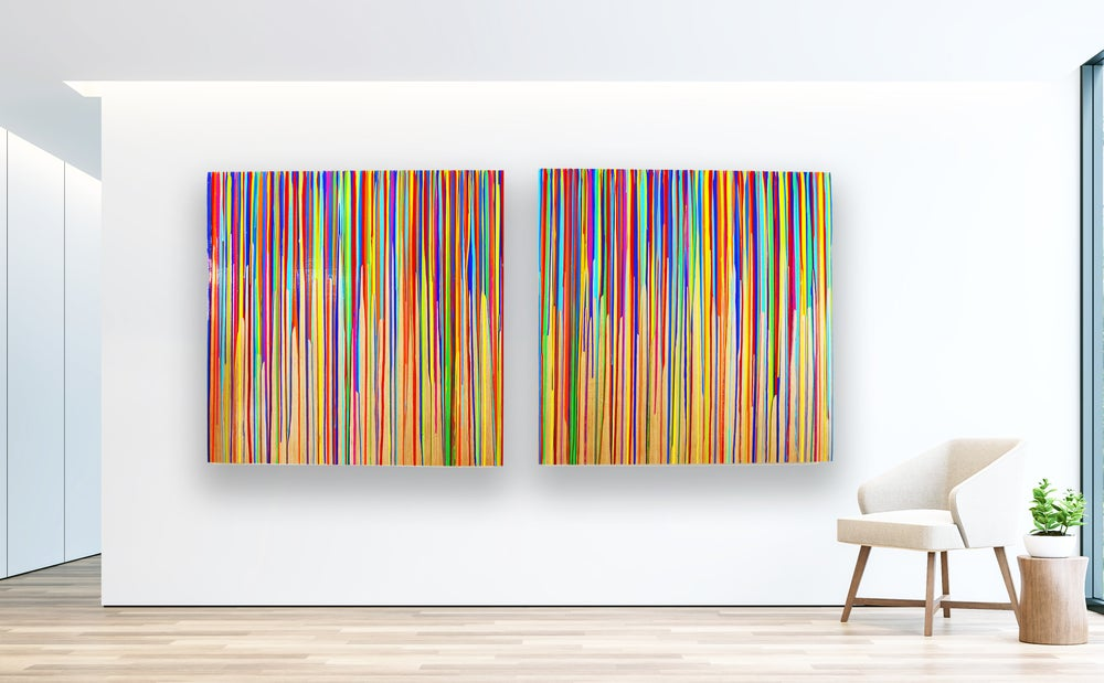 Image of READY to SHIP NOW | Abstract Painting on Wood | Drip Painting | Large Wall Art | Colorful Painting