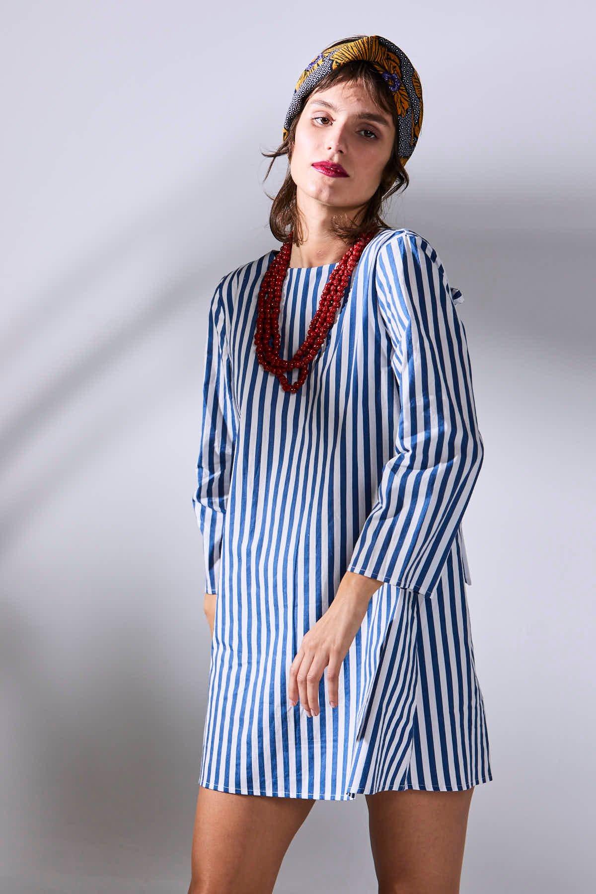 Image of Vestido Negresco Rayas Azul