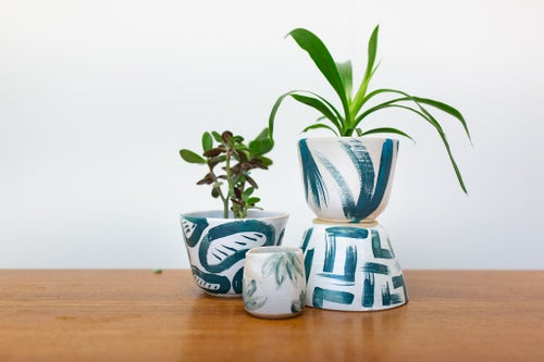 Image of Blue and White Bean Large Planter