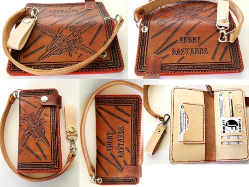 Image of Custom Hand Tooled Leather Long Wallet. Your image/design or idea. Chain Wallet. Biker Wallet. Roper