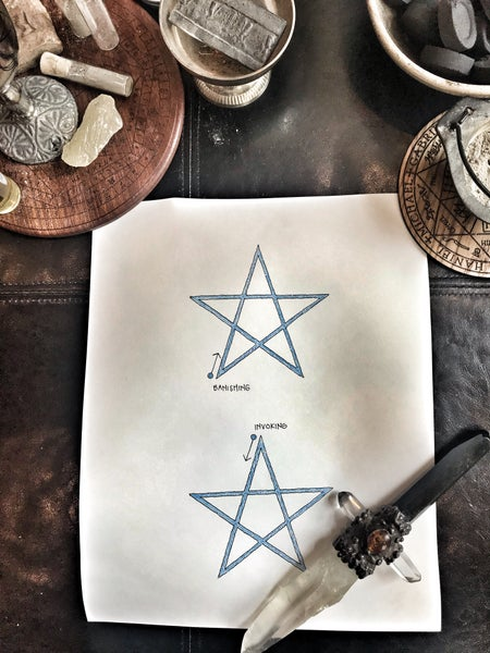 Image of High Magick Original drawings for book - How to Draw and Invoking and Banishing Pentagram