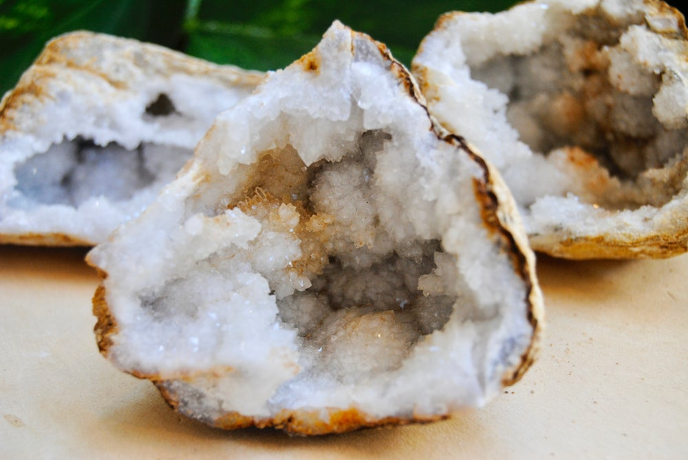 Image of Clear quartz druzy geode clusters