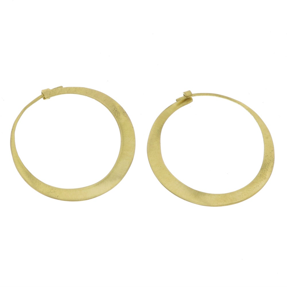 Image of Hammered Brass Hoops (small)