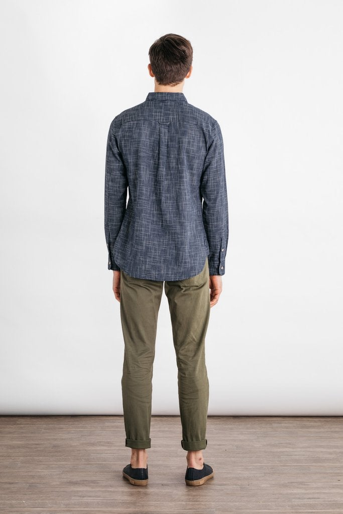 Image of Sutton Navy Grid Button Down