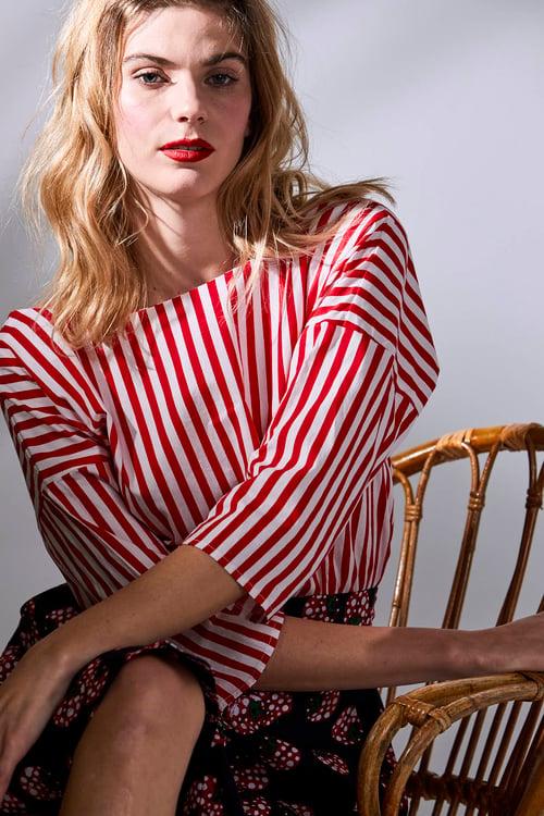 Image of Camisa MImosa Roja Rayas