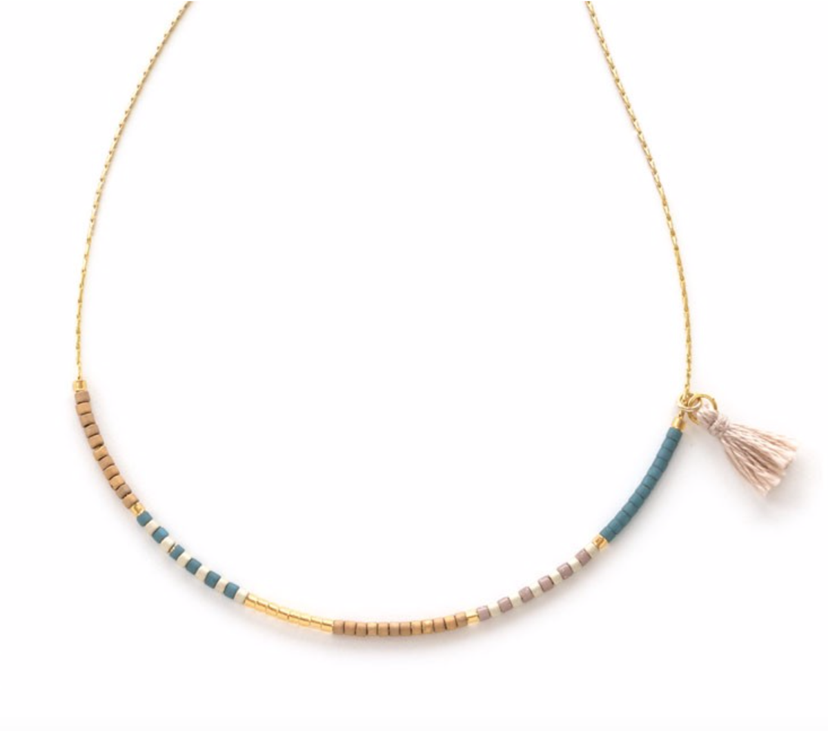 Image of Tiny Tassel Japanese Seed Bead Necklace - Sky