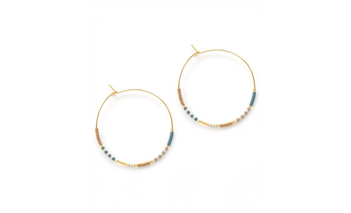 Image of Japanese Seed Bead Hoops - Sky