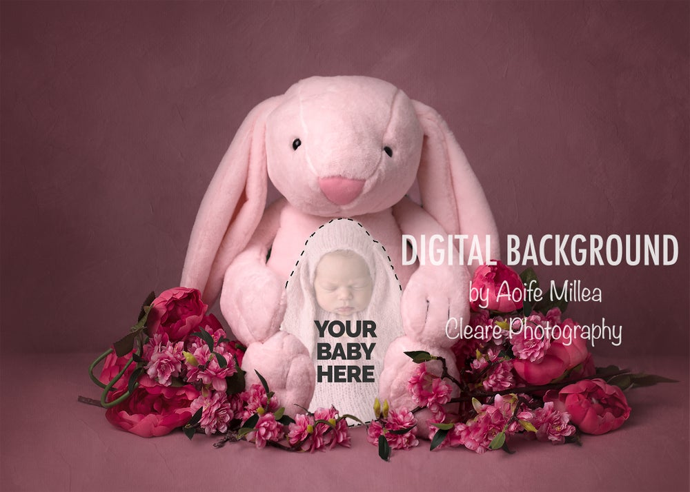 Image of Pink bunny , layered newborn digital backdrop