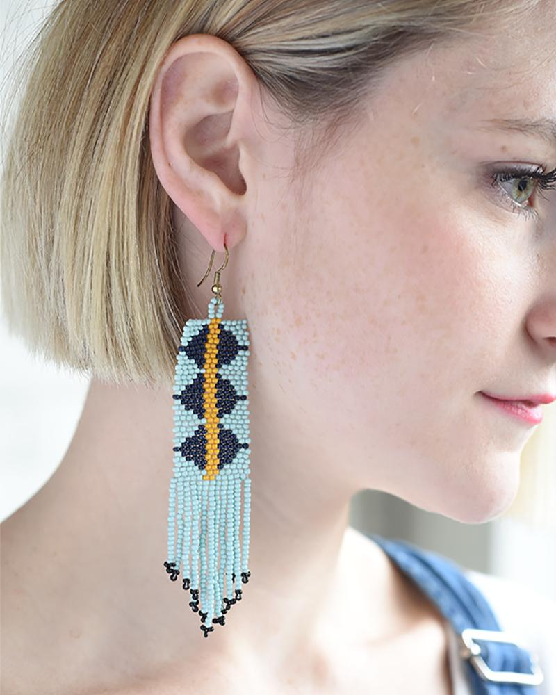 Image of Sky Blue Geometric Seed Bead Fringe Earrings
