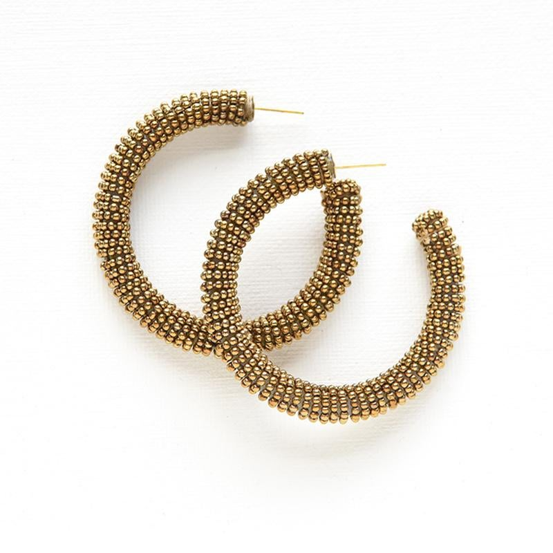 Image of Seed Bead Hoop Earrings