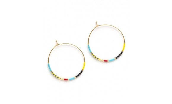 Image of Japanese Seed Bead Hoops - Fiesta